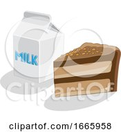 Slice Of Cake And Milk by cidepix