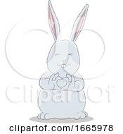 Poster, Art Print Of Gray Bunny Rabbit Forming A Heart