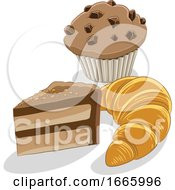 Slice Of Cake Muffin And Croissant