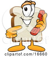 Clipart Picture Of A Slice Of White Bread Food Mascot Cartoon Character Pointing To A Red Telephone Receiver by Toons4Biz