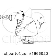 Cartoon Black And White Man Holding A Gun And Flashlight In Front Of His Safe
