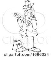 Cartoon Black And White Salesman Talking On A Phone