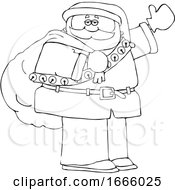 Cartoon Lineart Santa Claus Waving And Carrying A Christmas Sack