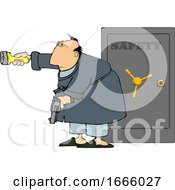 Cartoon Man Holding A Gun And Flashlight In Front Of His Safe