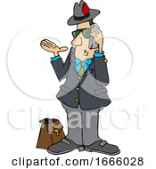 Cartoon Salesman Talking On A Phone