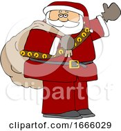 Cartoon Santa Claus Waving And Carrying A Christmas Sack