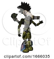 Bot Containing Bird Skull Head And White Eyeballs And Crow Feather Design And Light Chest Exoshielding And Ultralight Chest Exosuit And Minigun Back Assembly And Light Leg Exoshielding