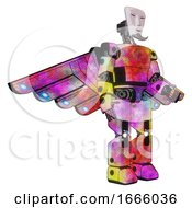 Poster, Art Print Of Mech Containing Humanoid Face Mask And Light Chest Exoshielding And Prototype Exoplate Chest And Cherub Wings Design And Prototype Exoplate Legs Plasma Burst Facing Left View