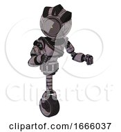 Mech Containing Green Dot Eye Corn Row Plastic Hair And Light Chest Exoshielding And Rubber Chain Sash And Unicycle Wheel Dark Sketchy Fight Or Defense Pose