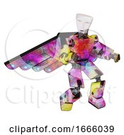 Poster, Art Print Of Mech Containing Humanoid Face Mask And Light Chest Exoshielding And Prototype Exoplate Chest And Cherub Wings Design And Prototype Exoplate Legs Plasma Burst Fight Or Defense Pose