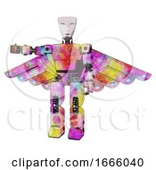 Poster, Art Print Of Mech Containing Humanoid Face Mask And Light Chest Exoshielding And Prototype Exoplate Chest And Cherub Wings Design And Prototype Exoplate Legs Plasma Burst Arm Out Holding Invisible Object
