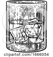 09/03/2019 - Drink With Ice In Glass Woodcut Engraved Etching