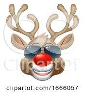 Cool Christmas Reindeer Cartoon Deer In Sunglasses