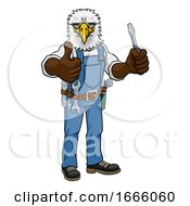 Eagle Electrician Handyman Holding Screwdriver