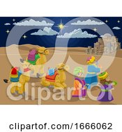 Poster, Art Print Of Nativity Scene Wise Men Christmas Cartoon