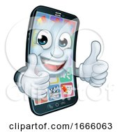 Mobile Phone Thumbs Up Cartoon Mascot