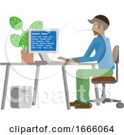 09/03/2019 - Man Working At Desk In Business Office Cartoon