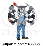 Poster, Art Print Of Wolf Multitasking Handyman Holding Tools