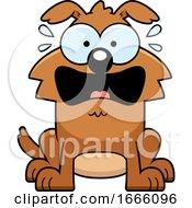 Cartoon Scared Brown Dog