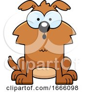 Cartoon Surprised Brown Dog