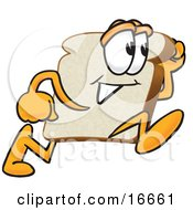 Clipart Picture Of A Slice Of White Bread Food Mascot Cartoon Character Running Fast