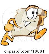 Slice Of White Bread Food Mascot Cartoon Character Running Fast