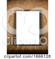 3D Picture Frame On A Wooden Table Against A Grunge Wallpaper