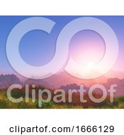 3D Sunset Landscape With Mountains In Background
