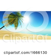 3D Tropical Landscape With Palm Tree On Beach
