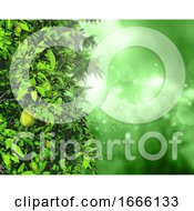 3D Leaves And Fruit On A Defocussed Background With Bokeh Lights And Stars