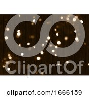 3D Christmas Background With Bokeh Lights On Wooden Texture
