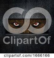 3D Demonic Creature Staring Through A Slot In A Door