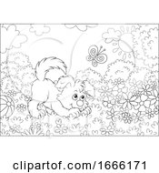 Poster, Art Print Of Black And White Playful Puppy Dog