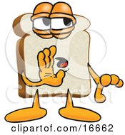 Clipart Picture Of A Slice Of White Bread Food Mascot Cartoon Character Whispering And Telling Secrets Or Gossip by Toons4Biz