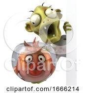 3d Zombie On A White Background by Julos