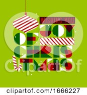 Christmas Postcard With Stylish Seasons Greetings And Composition Of Festive Elements Such As Xmas Ball Gift Candy Cane by elena