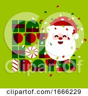 Christmas Card With Cute Santa Claus