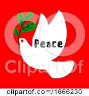Minimal Christmas Card With Wishes Of Peace And White Dove Holding Green Branch
