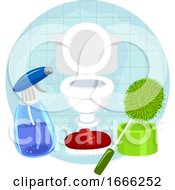Household Chores Cleaning Bathroom Illustration