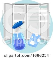 Household Chores Clean Refrigerator Illustration