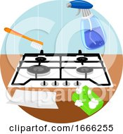 Household Chores Clean Stove Top Illustration