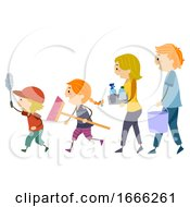 Stickman Family Cleaning Tools Illustration