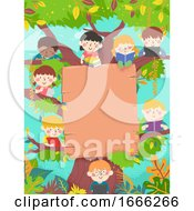 Kids Study Tree Board Background Illustration