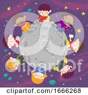 Kids Study Outer Space Books Illustration