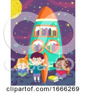 Kids Spaceship Library Illustration