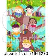 Kids Read Tree Library Illustration