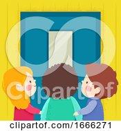 Kids School Door Illustration