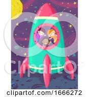 Kids Space Ship Launch Illustration
