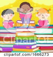 Kids Read Pile Books Illustration
