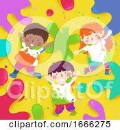 Poster, Art Print Of Kids Play Color Splats Illustration